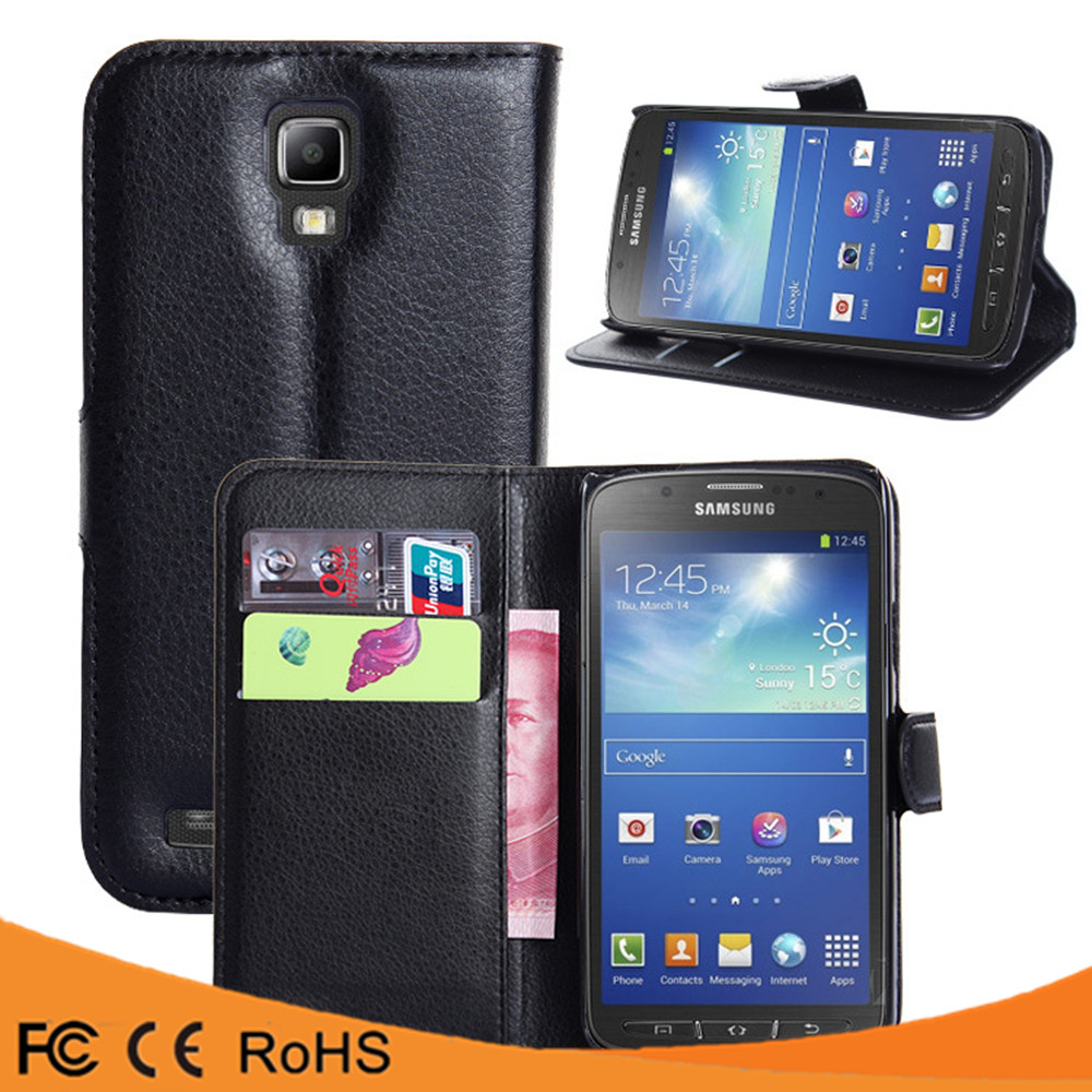 Factory price leather flip PU case back cover case for samsung galaxy s4 active