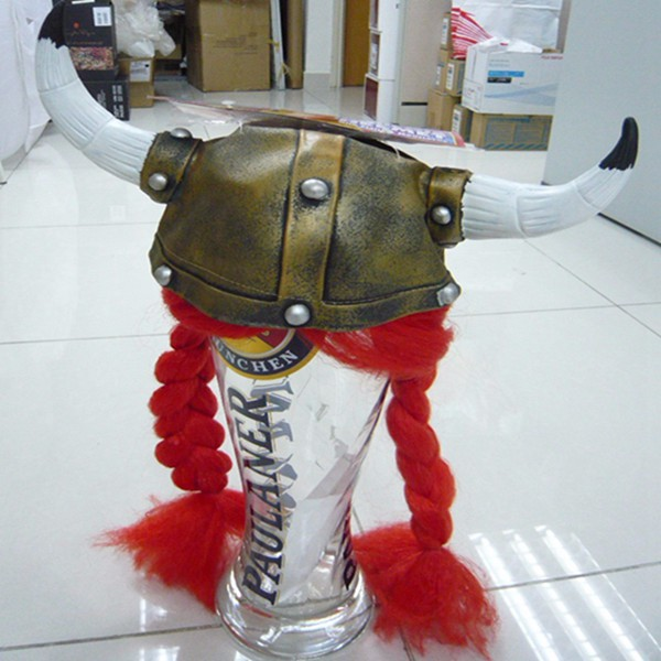 TK-000YIwu Caddy Hot selling viking Hat helmet with Horns and Braids Viking Helmet with Horns Viking helmet with wigs