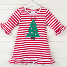 Red and white stripes children winter wear Christmas tree smocked dress