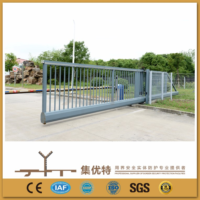 Applied for factory electric trackless metal sliding steel main gate design