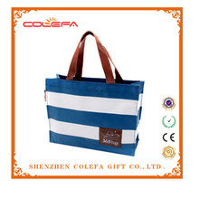 Navy White Nonwoven 600D Polyester Handle Tote Bag