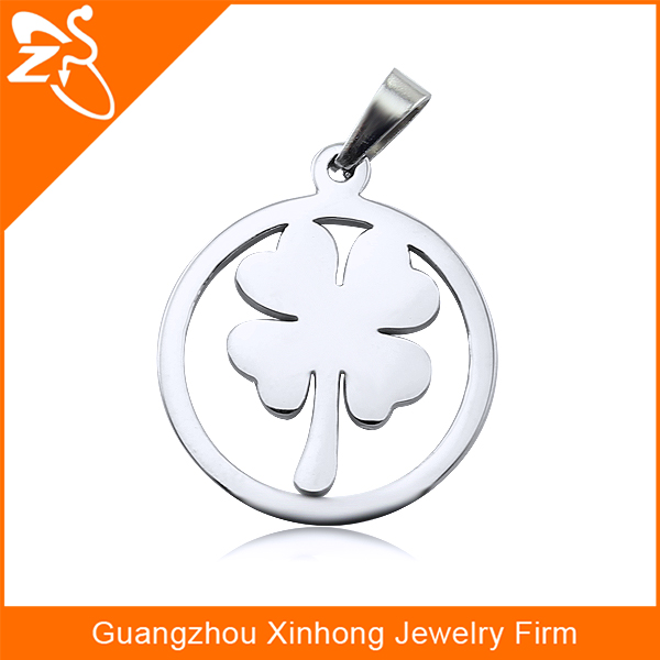 Lucky Pendant Necklace Design With Four Leaved Clover 316L Stainless Steel Jewelry Pendant Necklace