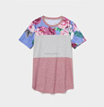 Summer fashion design women's short sleeves sublimated printed t-shirts round collared color quality t-shirts