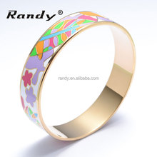 Colorful Stainless Steel Gold Plated Enamel Bangle