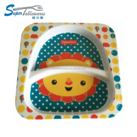 Food safe plastic 2 compartments melamine dish plate for kids