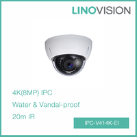 Vandal IP66 Mini Dome 4K(8MP) Ultra HD Network POE IP Camera with 20m IR