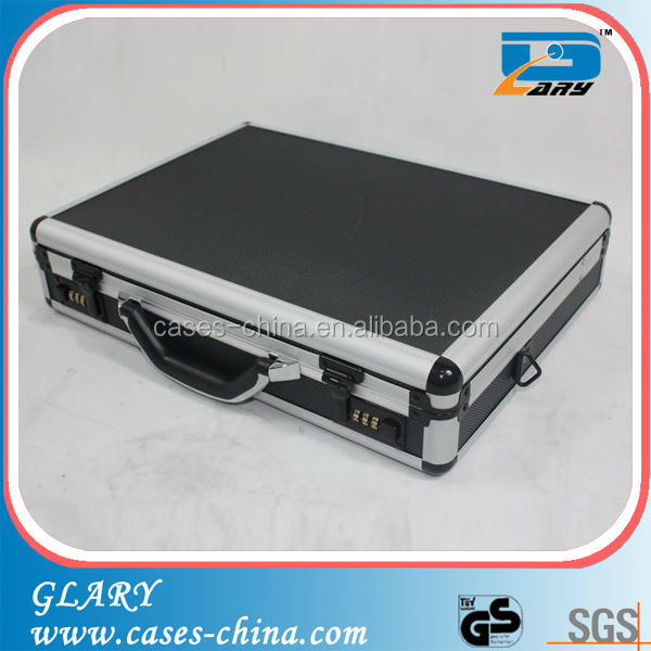 Black metal aluminum aluminum briefcase for laptop
