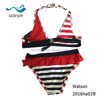 Two Piece Bikini Little Girls swimwear stripe printing young girl sexy bikini