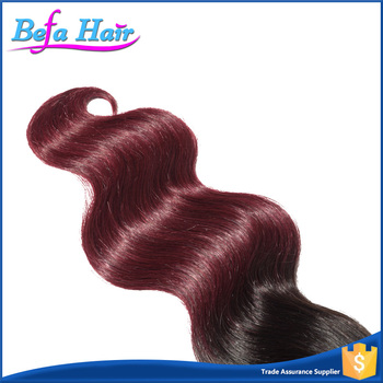 Wholesale top quality full cuticle Brazilian 100% ombre human hair