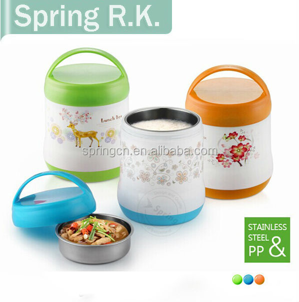 Food grade plastic & S/S lunch box food warmer bento mess tin takeout container