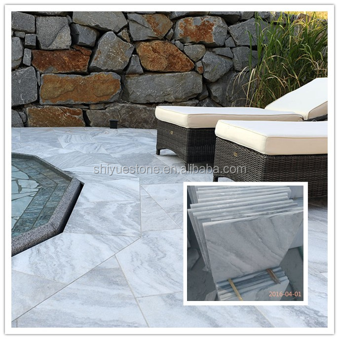 white marble bullnose pool coping