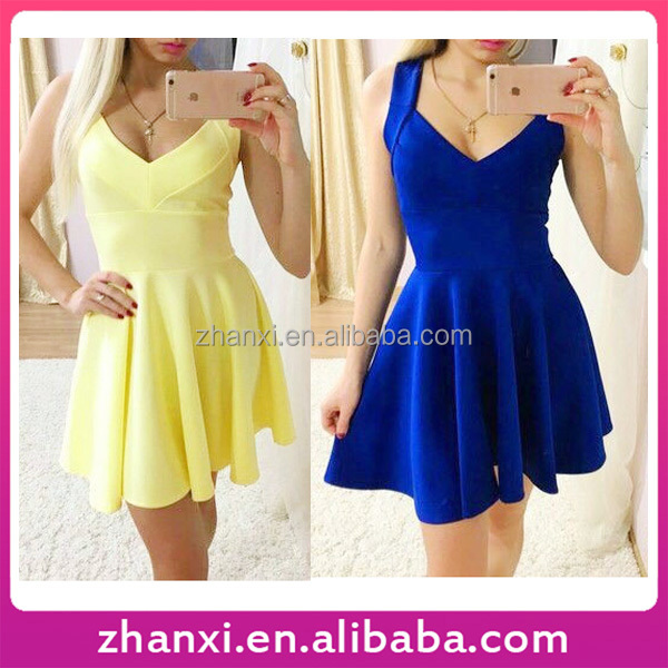 Women sleeveless V neck frock one piece ladies casual new model girl dress names