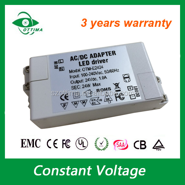 24v 60W 75w constant voltage LED strip driver non waterproof 100-240Vac terminal connector
