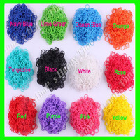 DIY 600 pcs 13 Colors Rubber Bands Candy Loom Refill Latex Free Bandz