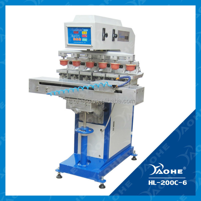 HLC-200C-6 manufacturer Six Colour Closed ink Cup Pad Printer 6 color pad printing machine