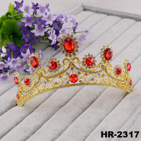 Hair accessories hair jewelry crystal rhinestone red strass gold plated jewelry wholesale crowns and tiaras