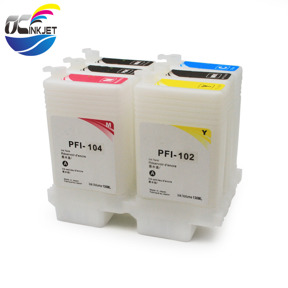Ocinkjet PFI <strong>102</strong> 104 Empty Refillable Ink Cartridge With Chip For Canon iPF 650 655 750 755 760 765 Printer