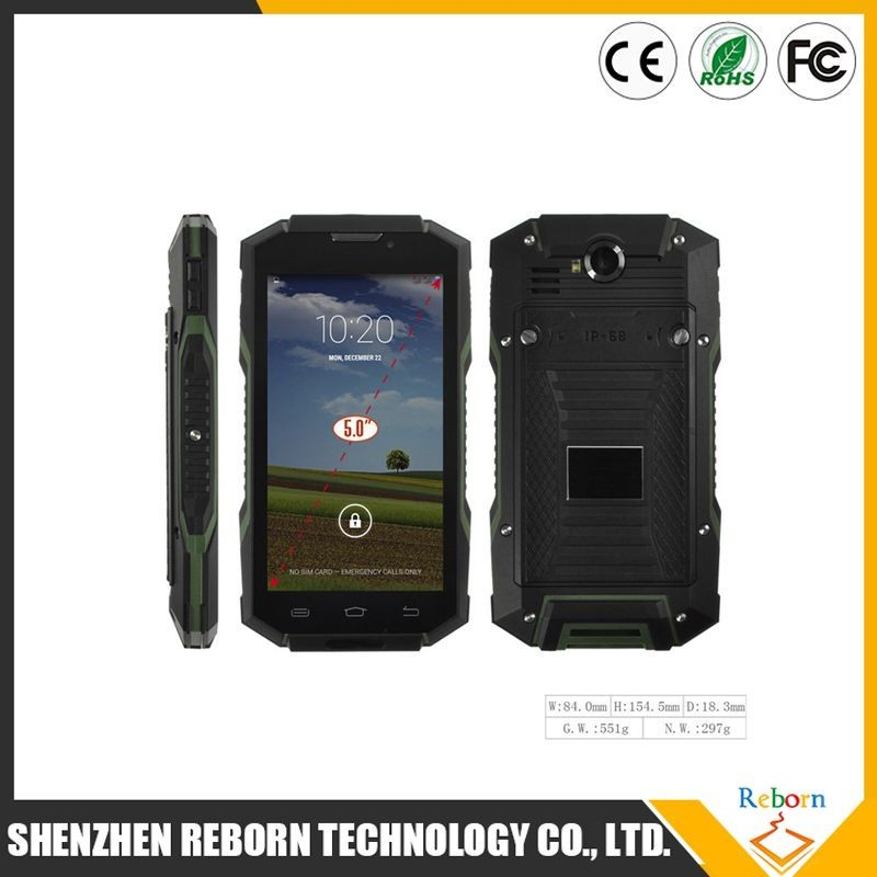 2015 Alibaba new NFC IP68 5.0 inch water proof rugged quad core custom android 4.4 mobile phone V4