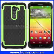Hybrid Protective Back Hard Plastic PC+Silicone Bumper Case for LG G2