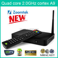 Factory Price! Pre-installed XBMC 13.1 Quad Core Smart TV Dongle Zoomtak T8 All Aluminum Quad Core android TV BOX