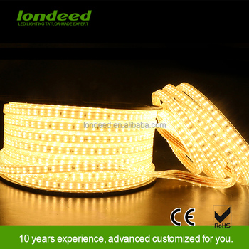 Hotel lighting 2835 SMD warm white waterproof led flexible strip light with 2 Years Warranty