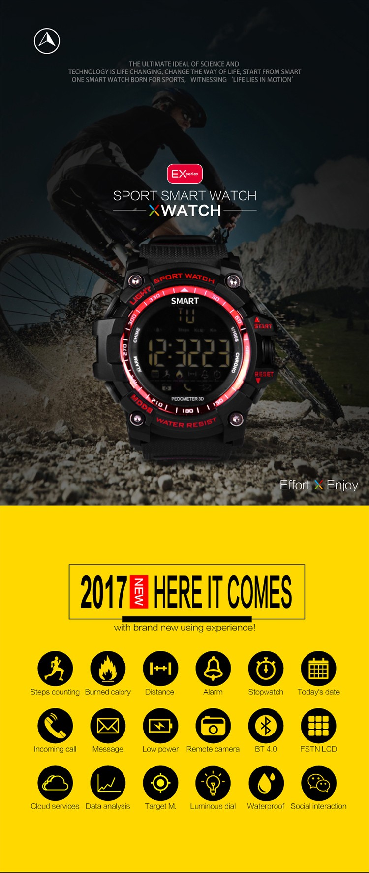 "E16 1.12"" FSTN LCD Dispaly incoming call reminding IP67 Waterproof CR2032 button battery Bluetooth 4.0 version sport wristwatch"