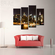 Canvas Print of New York City Manhattan Night Skyline Cityscape Canvas Wall Art for Home and Office 5 Panels Set Ready to Hang