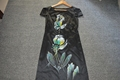 hand painted dress,100% silk satin dress