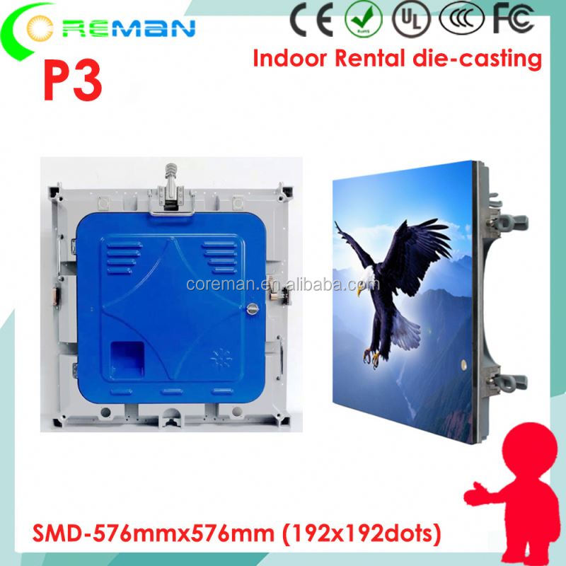 New electronic product Energy saving <strong>led</strong> <strong>display</strong> indoor P3 576x576 die cast <strong>led</strong> rental screen cabinet 192x192 p3 p4 p5