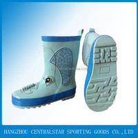 2014 Latest design carton printed fashion high heel kids rain shoes