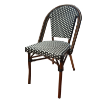 Bamboo Look Aluminum Rattan French Bistro Chair