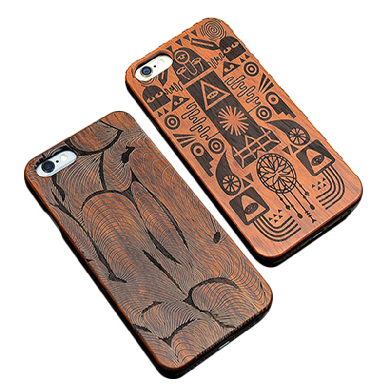 Custom design carving pattern rosewood bamboo mobile phone pc hard back cover for iphone 5 6s 7 emboss wooden phone case