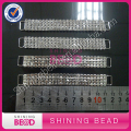 Silver 4 Rows White Crystal Rhinestone Bikini Connectors/ Buckle Chain