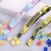 Free OEM Services Plastic Clip Polyester Disposable Festival Woven Wristband