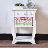 White Wood Wicker Bedside Table Chest