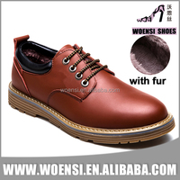 new men fashion design fake fur lined cheap PU leather warm winter shoes dress shoes