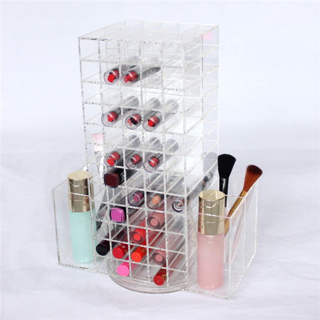 Custom 120 Lipstick Holder Lip Gloss/Lip Balm Display Stand,Rotating Cosmetic Organizer Clear Acrylic Lipstick Holder Wholesale