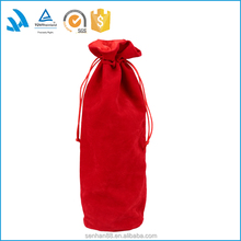 Trade assurance supplier custom made red velvet drawstring wine bag for bottle packaging