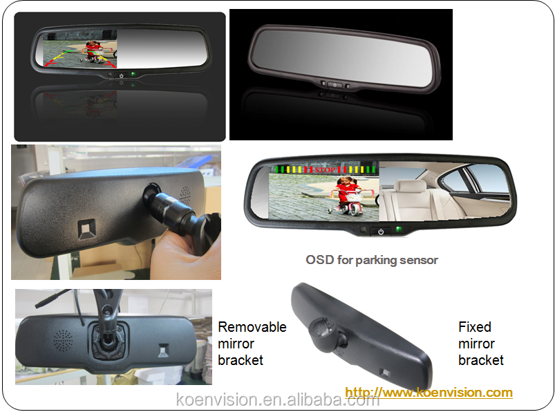 2017 OEM 4.3 Inch Monitor Rearview Mirror, Rear Mirror With Reverse Camera