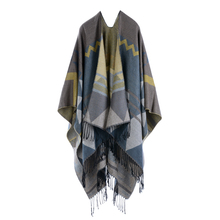 Polyester and acrylic blend fabrics geometry pattern jacquard women decorative scarves cashmere shawl