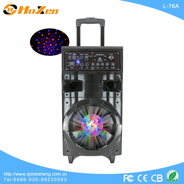 portable colorful woofer light speaker with USB,SD,FM,remote control,wireless mic