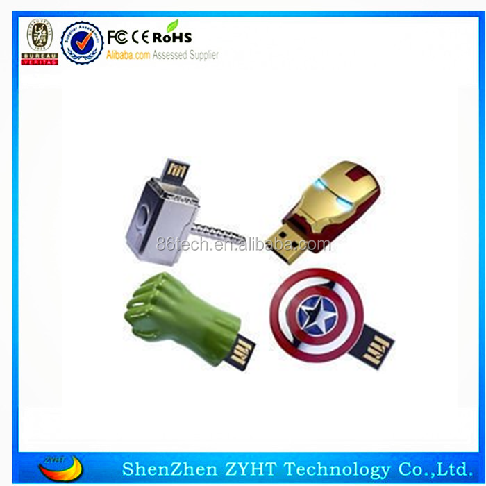 Hot sale excellent metal Iron Man shape usb flash drive, 8GB 16GB 32GB memory stick