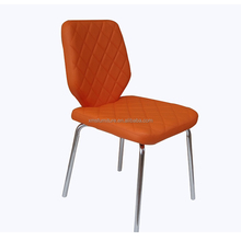 elegant PU leather upholstered backrest dining chair with metal legs