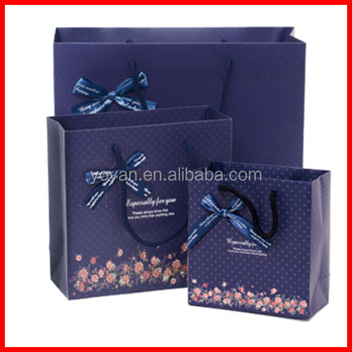 Blue Cute Flower Printing Bow Tie Dress Foldable Packaging Gift Bag Wholesale