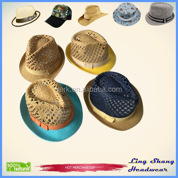 2015 Hot Sale Summer Lala crochette Straw Hat For Lady Fedora Hat Bow Trim