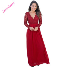Red V-Neck Party Open Back Lace Long Sleeve Crochet Maxi Evening Dresses