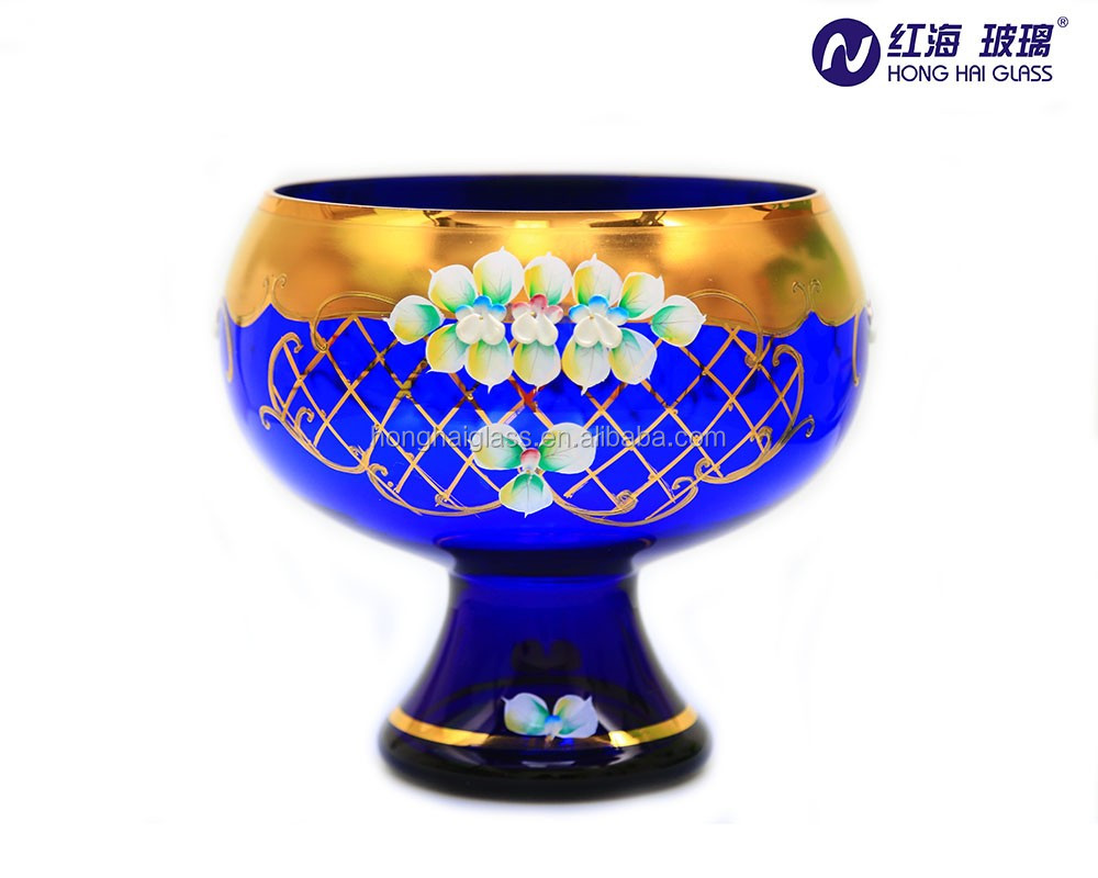 antique large glass salad bowl with stand blue color gold painted glass fruit bowls with stem QB-1796#