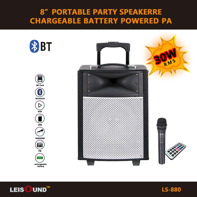 "8""/10""/12"" trolley active outdoor karaoke speaker with bluetooth function/FM radio/usb.sd.mmc input/wireless microphone"