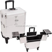 Sunrise E6304DTSL Silver Dot Rolling Beauty Case