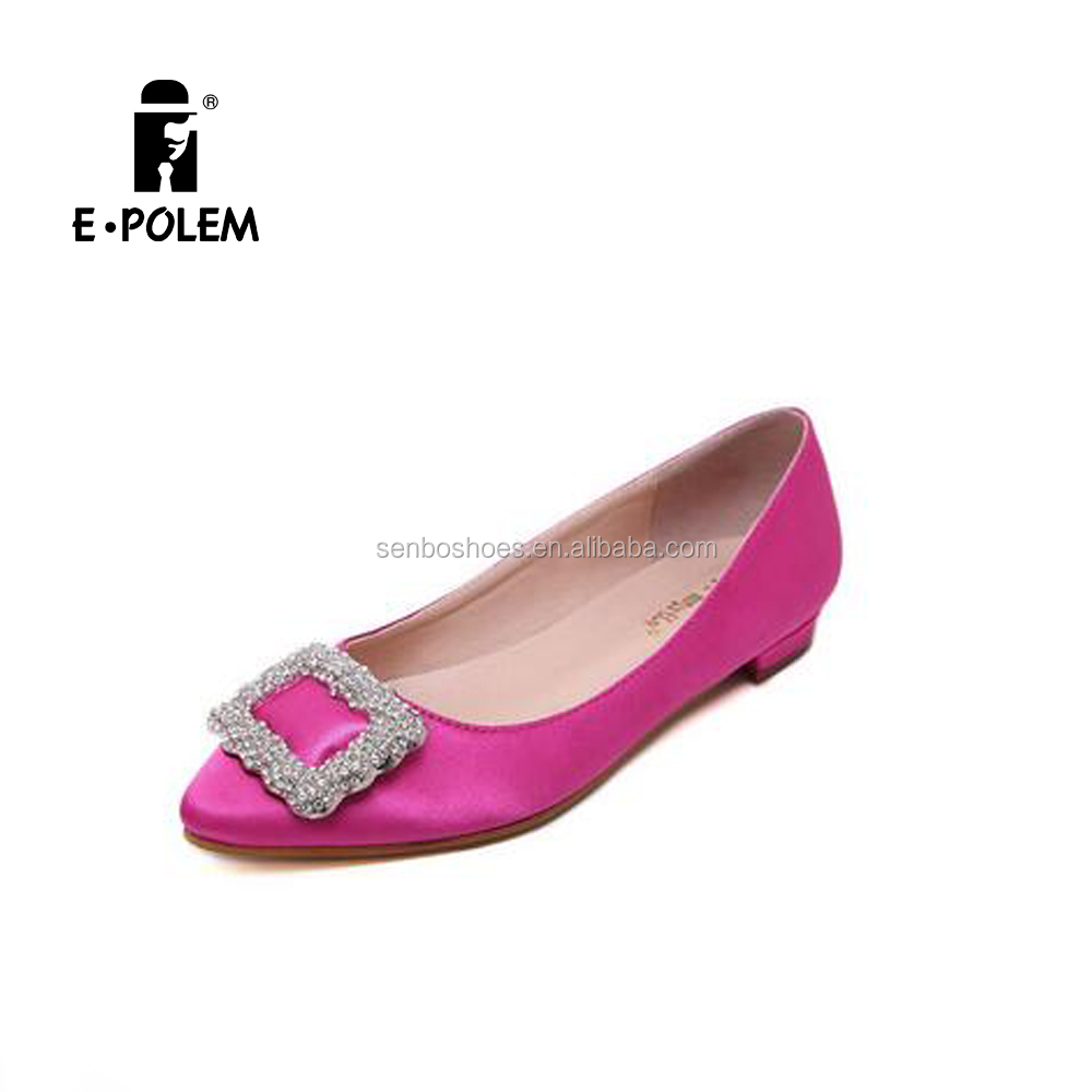 Wholesale Spring diamond satin flat women shoes